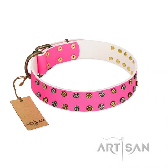 """Blushing Star"" FDT Artisan Pink Leather Dogue de Bordeaux Collar with Two Rows of Small Studs"