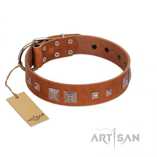 """Egyptian Gifts"" Handmade FDT Artisan Tan Leather Dogue de Bordeaux Collar with Chrome-plated Pyramids"