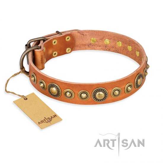 """Feast of Luxury"" FDT Artisan Tan Leather Dogue de Bordeaux Collar with Old Bronze Look Circles"