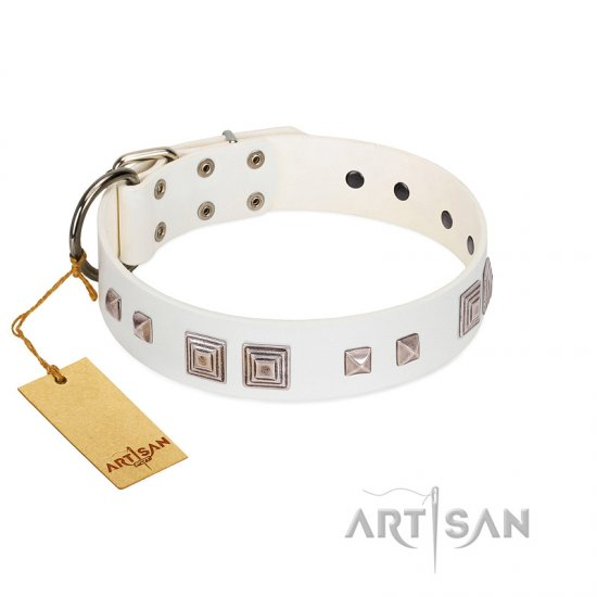 """Pure Quadratic"" Designer Handmade FDT Artisan White Leather Dogue de Bordeaux Collar"