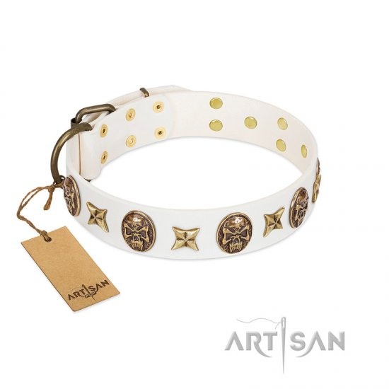 """Fads and Fancies"" FDT Artisan White Leather Dogue de Bordeaux Collar with Stars and Skulls"