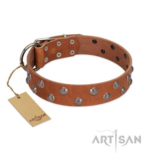 """Waltz of the Flowers"" Handmade FDT Artisan Tan Leather Dogue de Bordeaux Collar with Chrome-plated Engraved Studs"