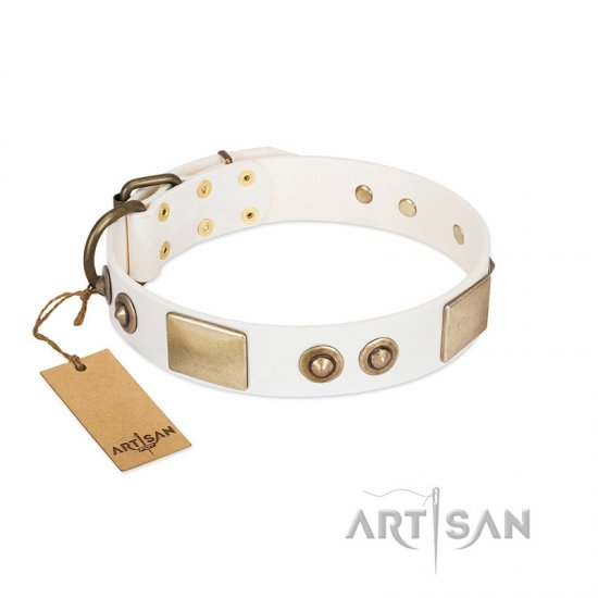 """Noble Impulse"" FDT Artisan White Leather Dogue de Bordeaux Collar Adorned with Antique Plates and Studs"