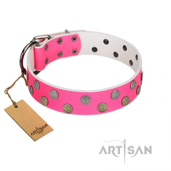 """Lucky Pink"" Designer FDT Artisan Pink Leather Dogue de Bordeaux Collar with Medallions"