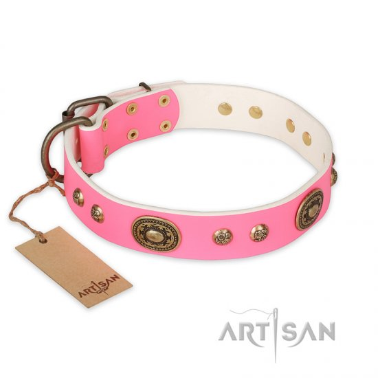 """Sensational Beauty"" FDT Artisan Pink Leather Dogue de Bordeaux Collar with Old Bronze Look Plates and Studs"