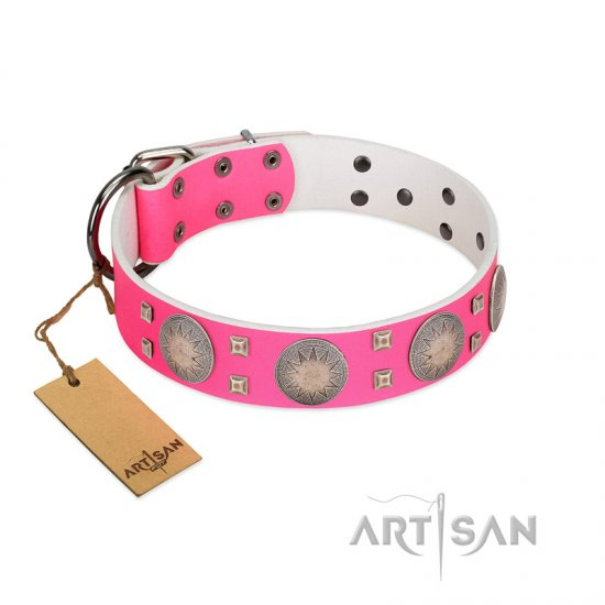 """Sunny Star"" Designer Handmade FDT Artisan Pink Leather Dogue de Bordeaux Collar"