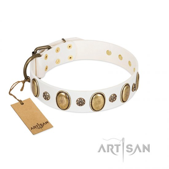 """Nifty Doodad"" FDT Artisan White Leather Dogue de Bordeaux Collar with Amazing Large Ovals and Small Studs"