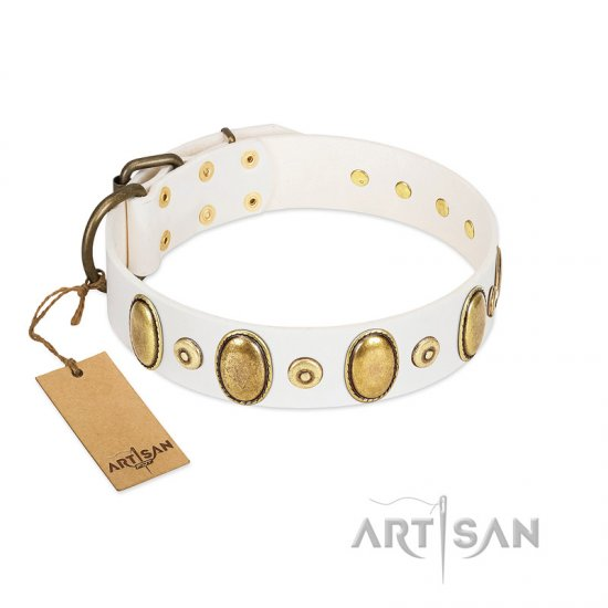 """Pearly Grace"" FDT Artisan White Leather Dogue de Bordeaux Collar with Engraved Ovals and Small Dotted Studs"