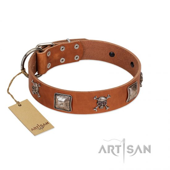 """Amorous Escapade"" Embellished FDT Artisan Tan Leather Dogue de Bordeaux Collar with Chrome Plated Crossbones and Plates"