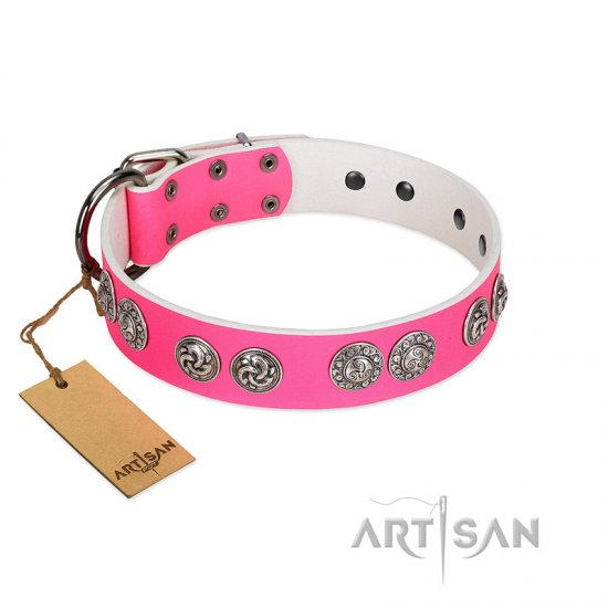 """Periapt of Power"" FDT Artisan Pink Leather Dogue de Bordeaux Collar with Chrome Plated Medallions"
