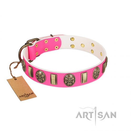 """Perilous Beauty"" Pink FDT Artisan Leather Dogue de Bordeaux Collar with Small Plates and Skulls"