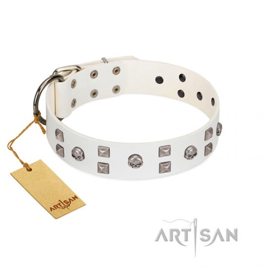 """Rock the Sky"" Durable FDT Artisan White Leather Dogue de Bordeaux Collar with Chrome-plated Decorations"