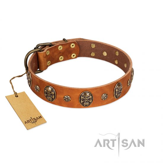 """Rockstar"" FDT Artisan Tan Leather Dogue de Bordeaux Collar with Engraved Studs and Medallions"