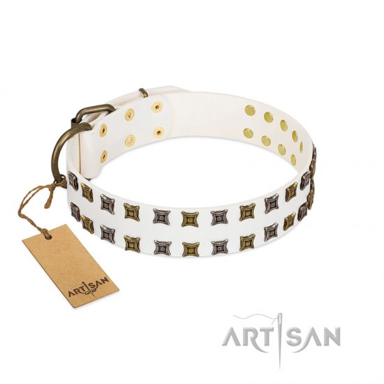 """Ice Peak"" FDT Artisan White Leather Dogue de Bordeaux Collar with Silvery and Goldish Decorations"