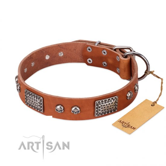 """Sparkling Skull"" FDT Artisan Tan Leather Dogue de Bordeaux Collar with Old Silver Look Plates and Skulls"
