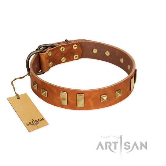 """Sand of Time"" FDT Artisan Tan Leather Dogue de Bordeaux Collar with Old Bronze-like Studs and Plates"