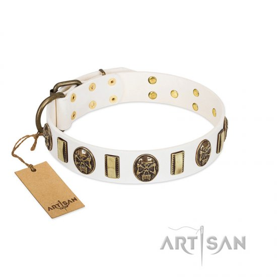 """Mystery of Times"" FDT Artisan White Leather Dogue de Bordeaux Collar with Plates and Medallions with Skulls"