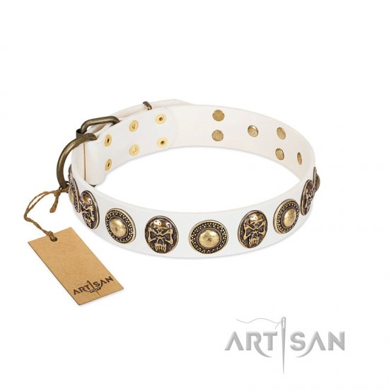 """White Delight"" FDT Artisan White Leather Dogue de Bordeaux Collar with Exclusive Embelishments"