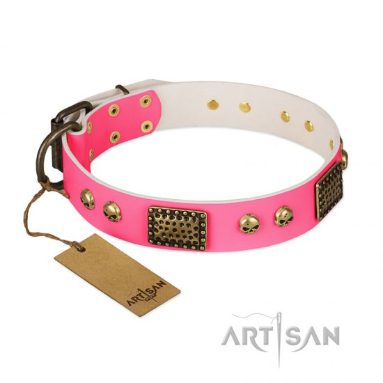 """Vintage and Glamour"" FDT Artisan Pink Leather Dogue de Bordeaux Collar with Old Bronze Look Plates and Skulls"