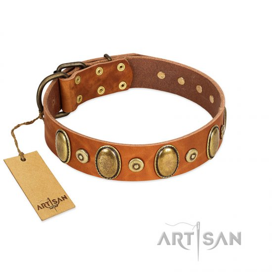 """Crystal Sand"" FDT Artisan Tan Leather Dogue de Bordeaux Collar with Vintage Looking Oval and Round Studs"