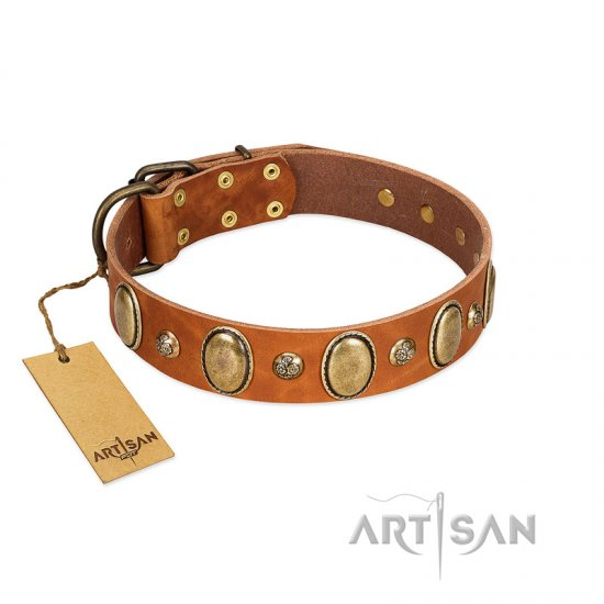 """Venus Breath"" FDT Artisan Tan Leather Dogue de Bordeaux Collar with Vintage Looking Oval and Round Studs"