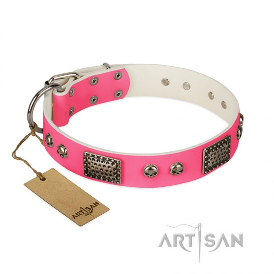 """Fashion Skulls"" FDT Artisan Pink Leather Dogue de Bordeaux Collar with Old Silver Look Plates and Skulls"