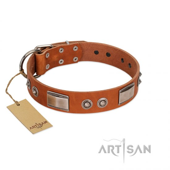 """Pawsy Glossy"" FDT Artisan Exclusive Tan Leather Dogue de Bordeaux Collar 1 1/2 inch (40 mm) wide"