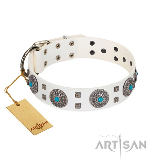 """Blue Sapphire"" Designer FDT Artisan White Leather Dogue de Bordeaux Collar with Round Plates and Square Studs"