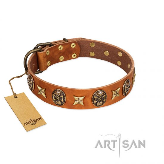 """Rockin' Doggie"" FDT Artisan Tan Leather Dogue de Bordeaux Collar Adorned with Stars and Skulls"