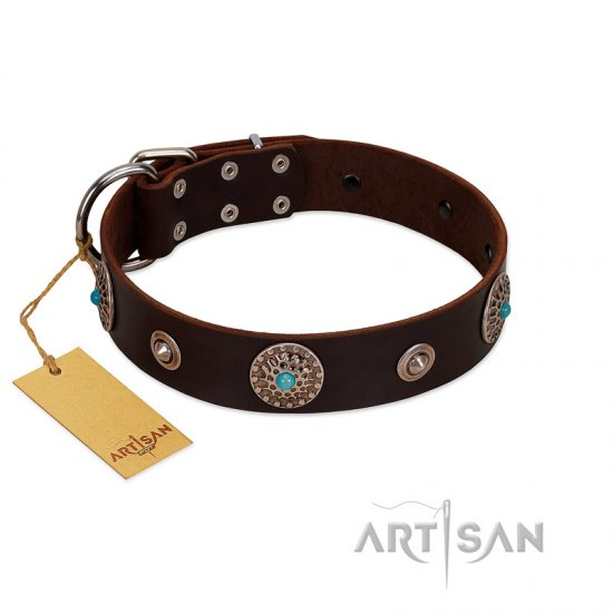 """Magic Stones"" FDT Artisan Brown Leather Dogue de Bordeaux Collar with Chrome Plated Brooches and Studs"