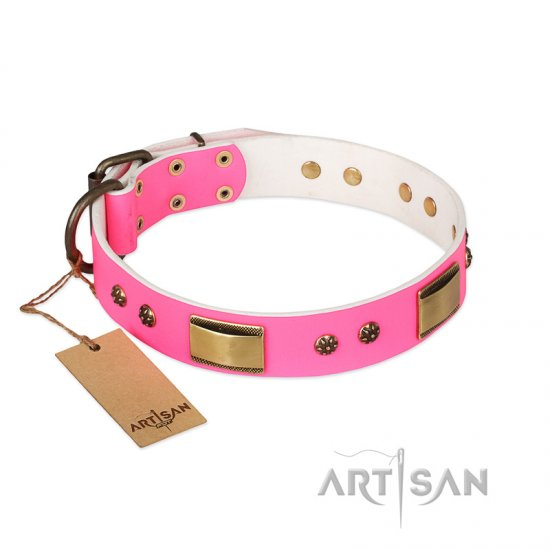 """Pink Daydream"" FDT Artisan Pink Leather Dogue de Bordeaux Collar with Old Bronze Look Plates and Studs"