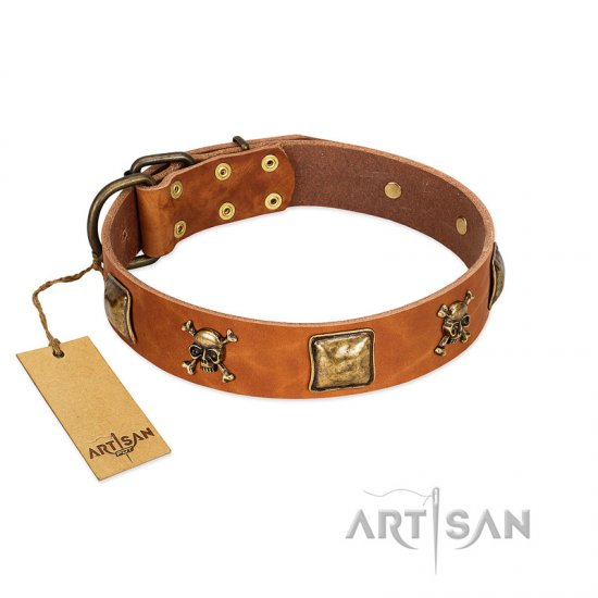 """Knights Templar"" FDT Artisan Tan Leather Dogue de Bordeaux Collar with Skulls and Crossbones Combined with Squares"