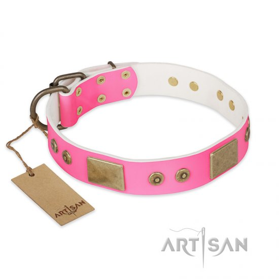 """Pink World"" FDT Artisan Pink Leather Dogue de Bordeaux Collar with Old Bronze Look Plates and Studs"