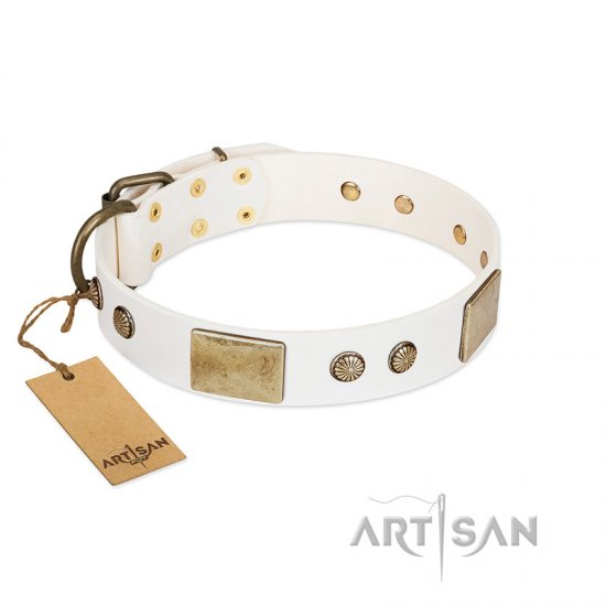 """Pure Elegance "" FDT Artisan White Decorated Leather Dogue de Bordeaux Collar - 1 1/2 inch (40 mm) wide"
