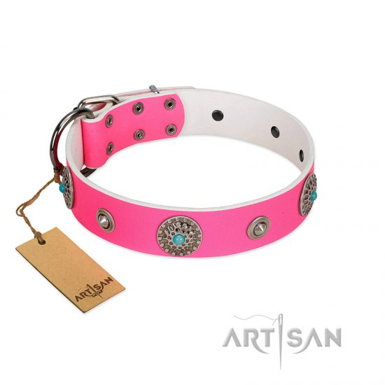 """Chili Mood"" Designer Handmade FDT Artisan Pink Leather Dogue de Bordeaux Collar - Click Image to Close"