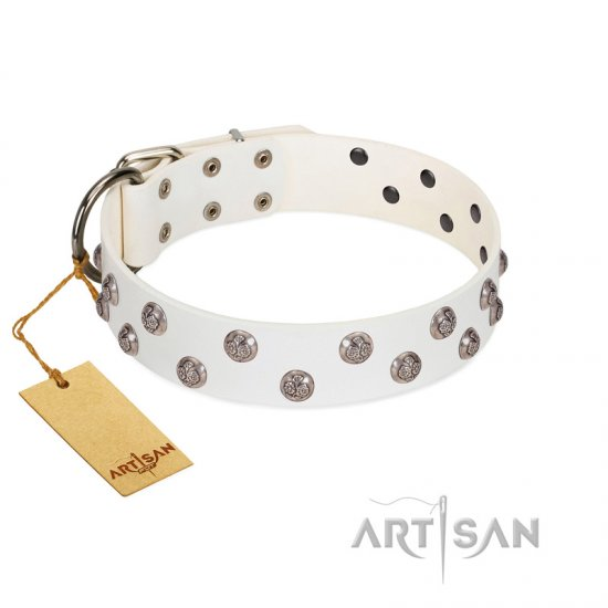 """Wild Flora"" FDT Artisan White Leather Dogue de Bordeaux Collar with Silver-like Engraved Studs"