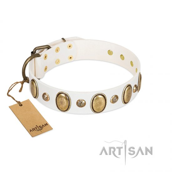 """Milky Lagoon"" FDT Artisan White Leather Dogue de Bordeaux Collar with Vintage Looking Oval and Round Adornments"
