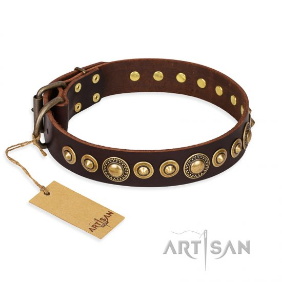 """Ancient Warrior"" FDT Artisan Fancy Leather Dogue de Bordeaux Collar with Old-Bronze Plated Decorations"