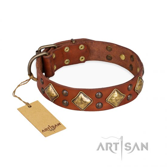 """Flight of Fancy"" FDT Artisan Adorned Leather Dogue de Bordeaux Collar"