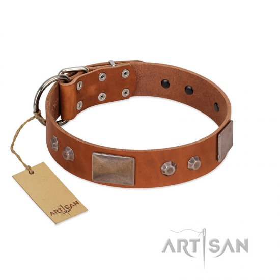 """Great Obelisk"" Handcrafted FDT Artisan Tan Leather Dogue de Bordeaux Collar with Large Plates and Pyramids"