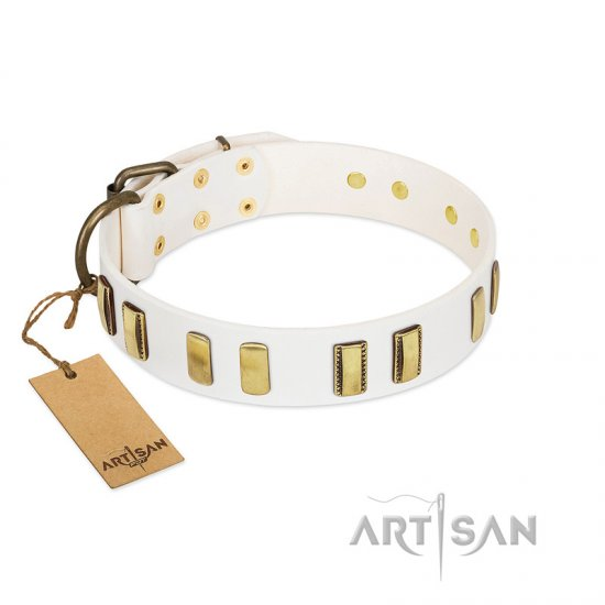 """Glorious Light"" FDT Artisan White Leather Dogue de Bordeaux Collar with Old Bronze-like Plates"