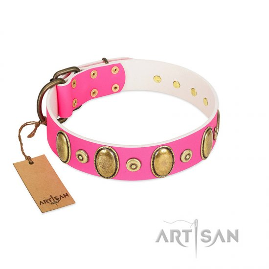 """Drawing Power"" FDT Artisan Pink Leather Dogue de Bordeaux Collar with Engraved Ovals and Dotted Studs"