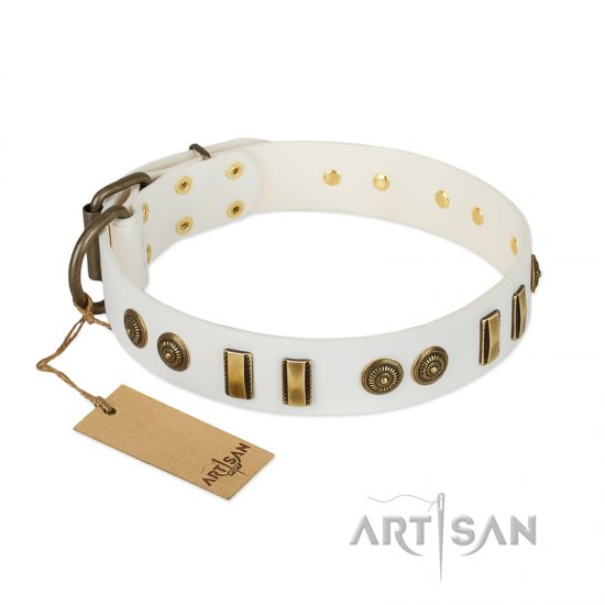 """Midsummer Snow"" FDT Artisan White Leather Dogue de Bordeaux Collar with Old Bronze-like Plates and Circles"
