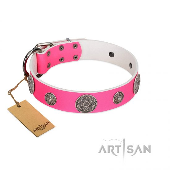 """Pink Elegance"" Designer Handmade FDT Artisan Pink Leather Dogue de Bordeaux Collar"