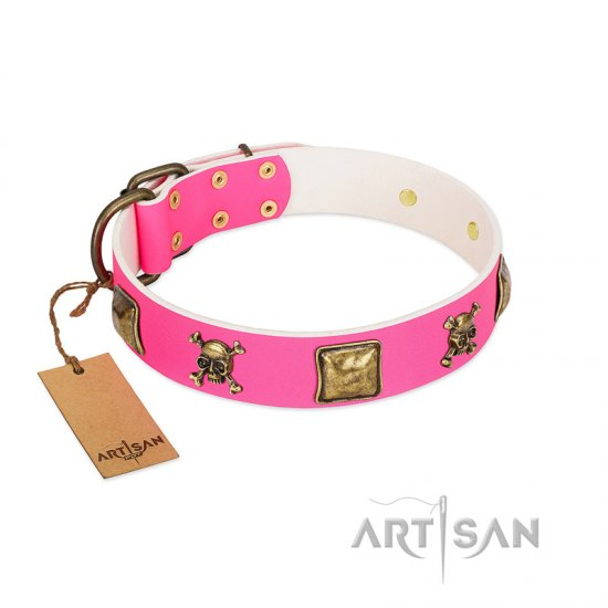 """Wild and Free"" FDT Artisan Pink Leather Dogue de Bordeaux Collar with Skulls and Crossbones Combined with Squares"