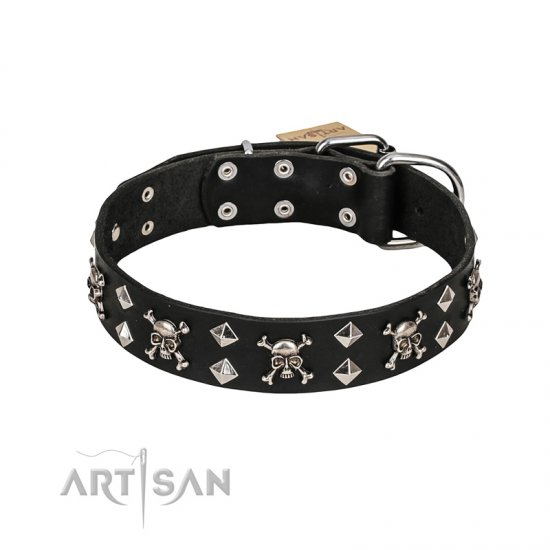 FDT Artisan 'Rock 'n' Roll Style' Fancy Leather Dogue de Bordeaux Collar with Skulls, Bones and Studs 1 1/2 inch (40 mm) wide
