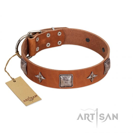 """Lucky Star"" FDT Artisan Tan Leather Dogue de Bordeaux Collar with Silver-Like Embellishments"