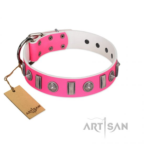 """Treasure Island"" FDT Artisan Pink Leather Dogue de Bordeaux Collar with Silver-Like Studs"