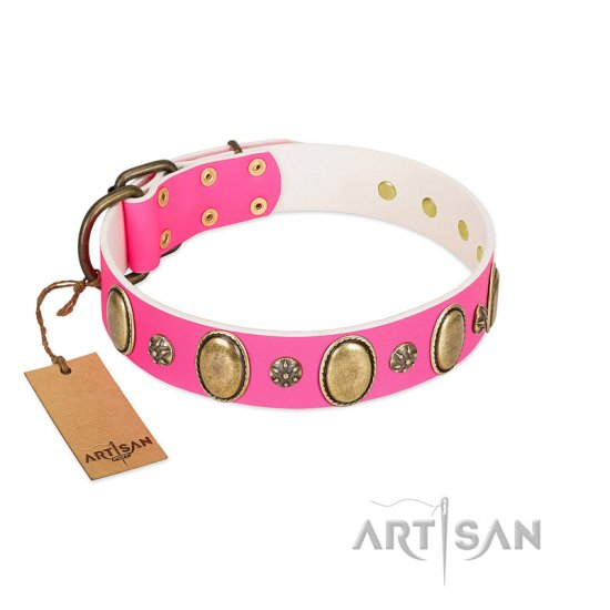 """Hotsie Totsie"" FDT Artisan Pink Leather Dogue de Bordeaux Collar with Ovals and Small Round Studs"