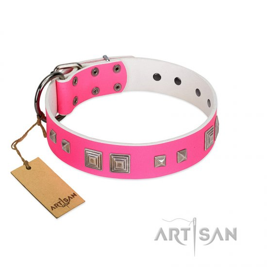 """Rosy Evolution"" Designer Handmade FDT Artisan Pink Leather Dogue de Bordeaux Collar"